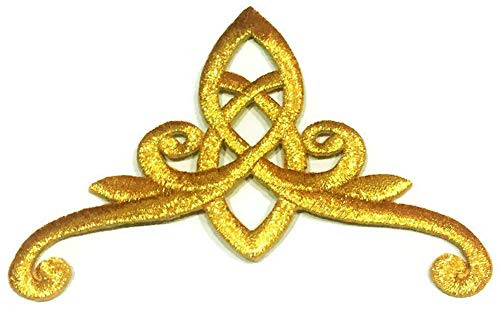 Gold Celtic Knot 4.3 Inches Princess Crown Design Pattern DIY Embroidered Headpiece Applique Golden Trinity Stencil Irish Tattoo Gothic Queen Iron on Patch for Men Women Cloth Dress Vest Cap Hat