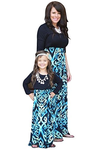 Family Parent and Clothes YMING Me Child Outfits Shirt Dress Dress Blue Floral Matching Mommy rIq6qgd