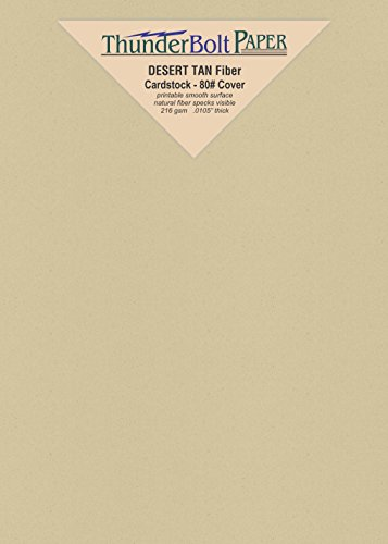 50 Desert Tan Fiber Finish Cardstock Paper Sheets - 4.5 X 6.5 Inches Invitation Size (bet 4X6 & 5X7) – 80 lb/pound Cover|Card Weight 216 gsm - Natural Fiber with Darker Specks - Slightly Rough Finish