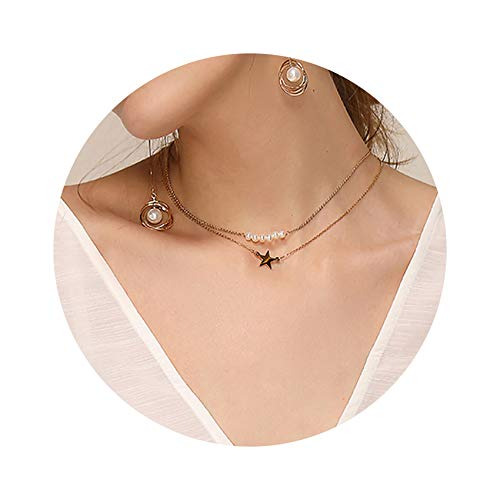 Gold Layered Necklaces,14K Gold Plated Freshwater Pearl Lucky Star Handmade Cute Dainty Charm Bead Pendant Necklaces Jewelry Gift for ()