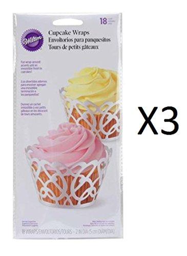Wilton Bulk Buy Cupcake Wrap 18 pack Pearl White Swirls (3-Pack)