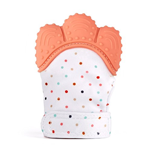 Baby Shower Gift Prevents Scratching | Teething Mitten Orange for Self Soothing Gum Relief Anti-Scratch Baby Teething Mitt Bonbino 3-12 Months
