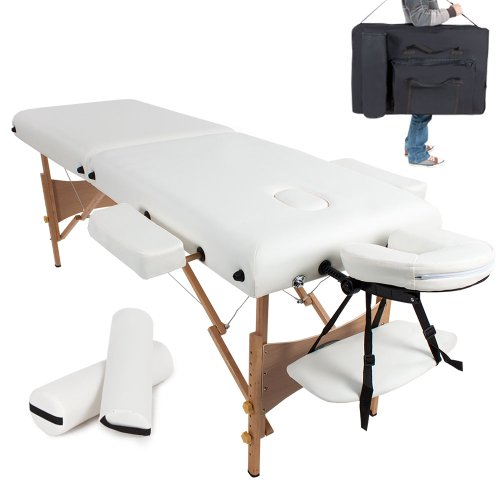 TecTake Massageliege 7,5cm reine Polsterung + 2 Lagerrungsrollen + Tasche weiß