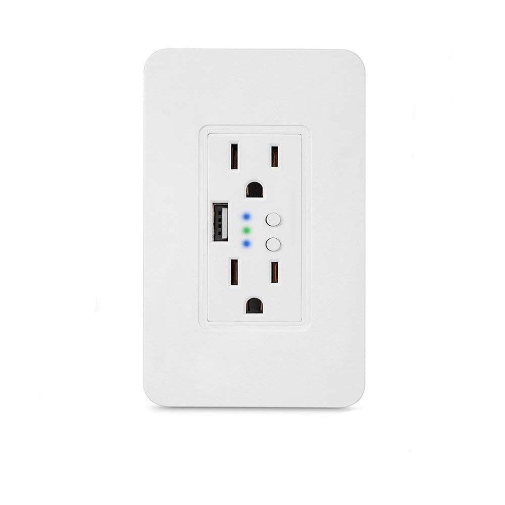 Smart WiFi High Speed USB Charger/USB Charger Wall Outlet (2.0A-5VDC) Dual Outlet Receptacle - Independently Remote Control Duplex Outlet 15A, Wireless Voice Control and Timer Switch with Scheduling