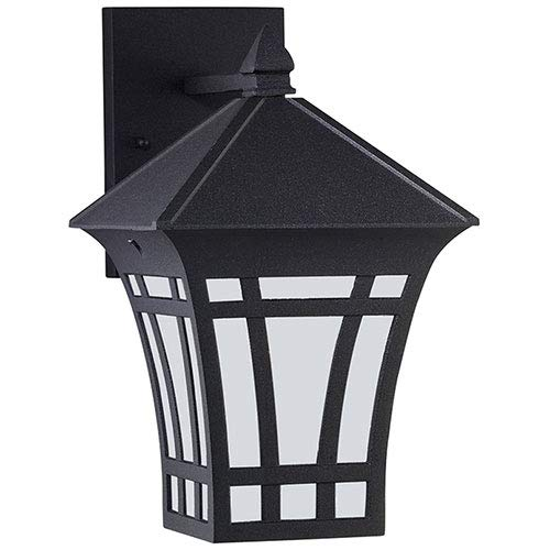 Sea Gull Lighting 89132BLE-12 Herrington - One Light Outdoor Wall Mount, Black Finish with Etched/White Glass