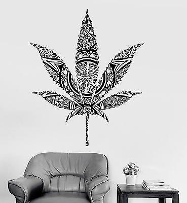 Vinyl Wall Decal Weed Cannabis Hemp Marijuana Rastafarian Stickers (vs3949)