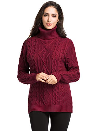Lynz Pure Women's Turtleneck Sweater Cable Knit Tunic Sweater Pullover Tops L Red