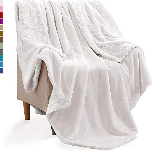 (KAWAHOME Sherpa Blanket Extra Warm Thick Winter Blanket for Couch Sofa Bed Throw Size 50 X 60 Inches White)