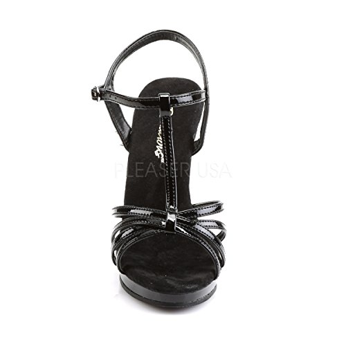 T Strap black PleaserUSA Platform 420 Womens Heel black patent Sandals High patent Flair qttw1FR