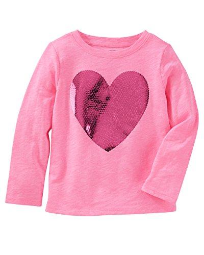 Osh Kosh Girls' Long Sleeve Tee, Pink Heart, 24 Months (Oshkosh Heart)