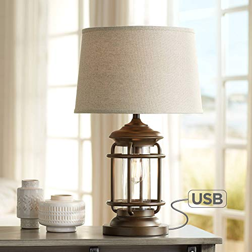 Andreas Industrial Table Lamp with Nightlight and USB Port Brown Metal Oatmeal Fabric Tapered Drum Shade LED Edison Bulb for Living Room Bedroom Bedside Nightstand Office - Franklin Iron Works