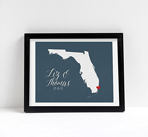 Florida or ANY STATE or Country Wedding script Art Print destination anniversary gift wall decor -