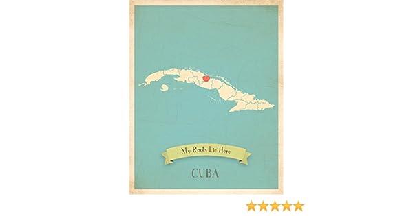 Mapa de pared, mi raíces Cuba personalizado pared mapa 11 x 14 ...