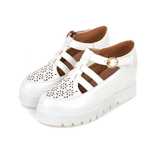 Pumps Solid Shoes White Kitten PU Toe Buckle Heels Women's WeiPoot Round xz7f78
