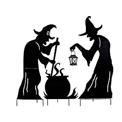 Large Witch Silhouettes with Cauldron Outdoor Halloween...