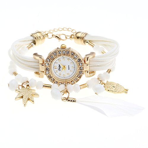 Top Plaza Rhinestone Bracelet Watch White