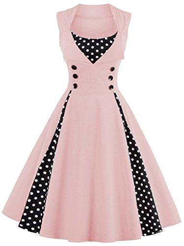 Babyonlinedress Women Short Cocktail Dress 1950s Inspired Vintage Dress,Pink XL for $<!--$23.99-->