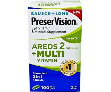 AREDS 2 Plus Multivitamin Vitamin and Mineral Supplement, Soft Gels, 100 Count 2-Pack