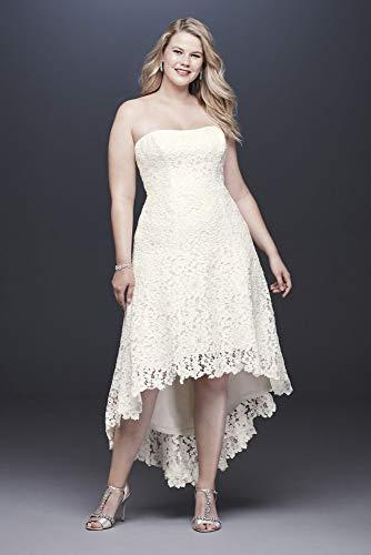 High-Low Tea-Length Lace Plus Size Wedding Dress Style 9WG3925, Ivory, 20W