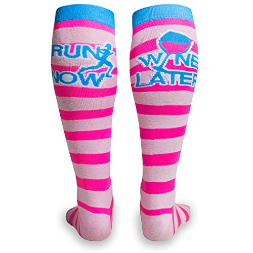 Run Now Wine Later Knee High Half Cushioned Athletic Running Socks   Fun Running Socks by Gone For a Run
