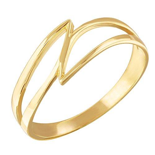 Dainty 10k Gold Double Swish Outline Open Design Ring