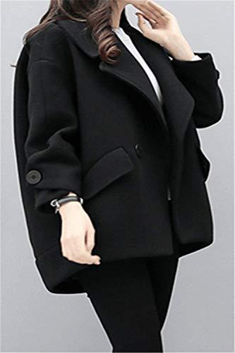 Cappotto Qualit Bavero Monocromo Di Grazioso Giaccone Pulsante Baggy Manica Lunga Donna Outerwear Laterali Alta Tasche Invernali zqSpMVGU