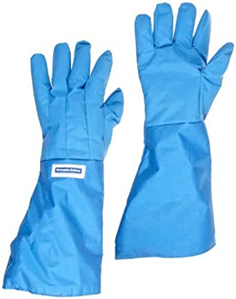 "National Safety Apparel G99CRBEPMDEL Nylon Taslan and PTFE Elbow Waterproof Safety Glove, Cryogenic, 17"" - 18"" Length, Medium, Blue"