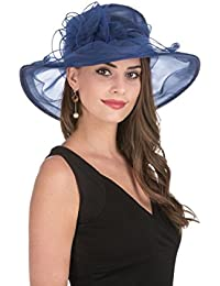 b5fe496f3a6 Women s Organza Church Kentucky Derby British Fascinator Bridal Tea Party  Wedding Hat Summer Ruffles Cap