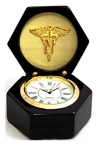 (Desk Clocks - Nursing Profession Desk Clock - Medical Caduceus -)