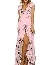 Women's Floral Tie Waist Split Wrap Flowy Party Long Beach Boho Maxi Dress