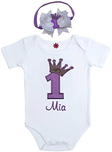 Funny Girl Designs First Birthday Outfit Onesie for Girls Sparkling Glitter Crown with Personalized Name Includes Matching Elastic and Bow Headband (18 Months, - Baby Classic Ultrasoft Onesie