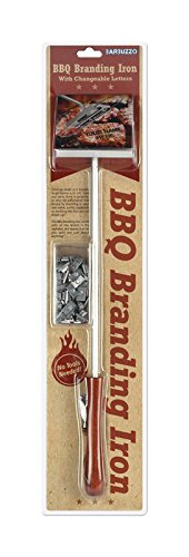 Barbuzzo BBQ Branding Iron with Changeable Letters - Brand Your Steak, Hamburger, Chicken, with Your Name, Message or Just About Anything - Great for Birthdays, Father's Day, Parties, Tailgates (Iron Custom Branding Steak)
