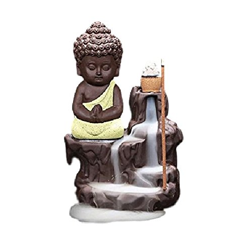 Decora Craft Polyresin Buddha Incense Smoke Burner Fountain, Standard, Yellow