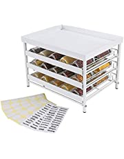 Upgrade Version - TQVAI Stackable 30 Jars 3-Tier Spice Rack Organizer with Pull Out Drawers and Labels - Fit for Countertop, Cabinet, Pantry - Pure White