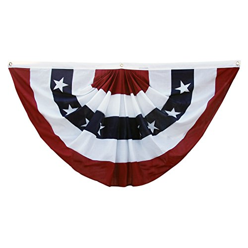 Super Tough 3'x 6' US Pleated Fan Flag Bunting - Bright Colors Generous - Pleated Bunting Fan