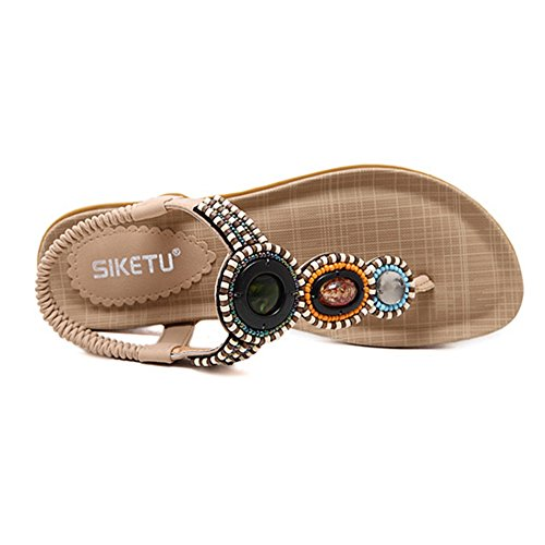 Btrada Women Bohemia Beades Flat Sandals T-strap Beach Sandals Apricot
