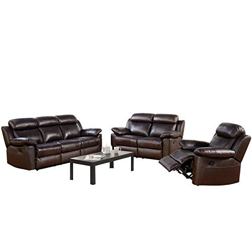 Abbyson Living Brody Three Piece Leather Reclining Set in Brown
