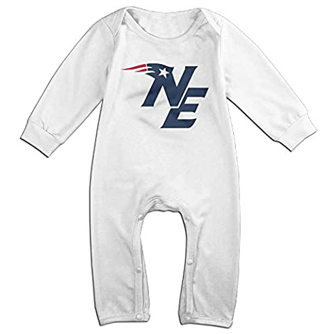 PCY Newborn Babys Boy's & Girl's The New England Logo Patriots Long Sleeve Bodysuit Baby Onesie For 6-24 Months White Size 24 - Infant One Piece Cheerleader Dress