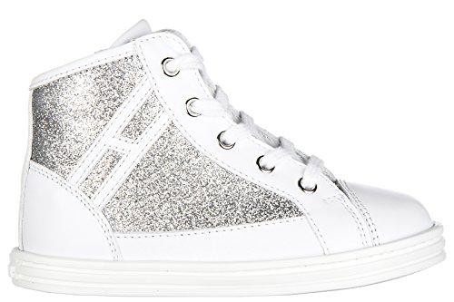 Hogan Rebel scarpe sneakers bimba bambina alte pelle nuove r141 polacco zip arge