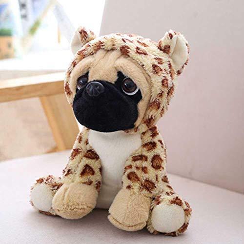 Kasstino Cute Plush Stuffed Soft Puppy Pug Dog Cuddly Animal Shar Pei Toy Costume Simulation Wearing Hat Gift (Leopard) ()