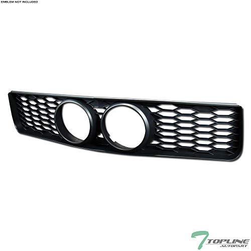 Topline Autopart Black Honeycomb Mesh Front Hood Bumper Grill Grille ABS With Fog Lights Hole For 05-09 Ford Mustang GT