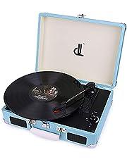 D&L Vinyl-Spieler mit 3 Geschwindigkeiten 33/45/78 Tragbarer Vintage Holz Koffer Plattenspieler mit eingebauten Stereo-Lautsprechern, PC-Recorder, Kopfhöreranschluss, Cinch-Line Out (639PW-2)