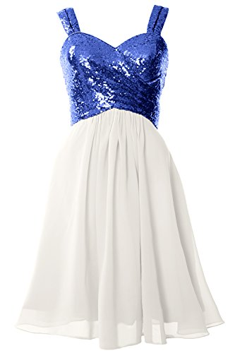 MACloth Gorgeous Sequin Short Bridesmaid Dress Cowl Back Cocktail Formal Gown Royal Blue-Ivory