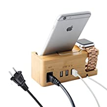 Apple Watch Stand, IPUTY Apple Watch Docking Charging Station Organizer with Power Adapter, Desktop Bamboo Wood 3-Port USB Dock Holder Mount for iWatch 38mm 42mm, iPhone and Other Smartphones