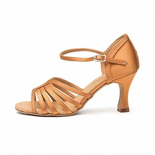 de con Marrón Zapatos Cuero Adulta Latino BYLE Baile Modern Onecolor Satén de Baile Baile de Tobillo Zapatos de Zapatos Hembra Samba Sandalias de Jazz aBBUqpA