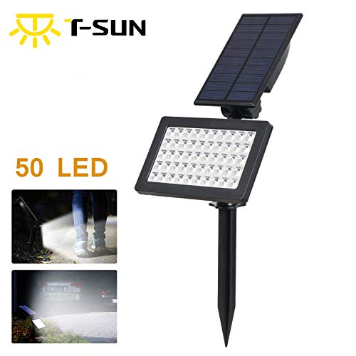 T-SUN 50 LED Solar Spotlights, Outdoor Adjustable & Auto ON/Off Solar Floodlights Wall lamp for Garden, Yard, Lawn, Driveway (6000K-1 Pack) ()