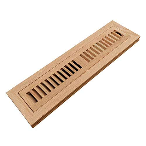 (Homewell Red Oak Wood Floor Register Vent Cover, Flush Mount Vent with Damper, 2X14 Inch, Unfinished)