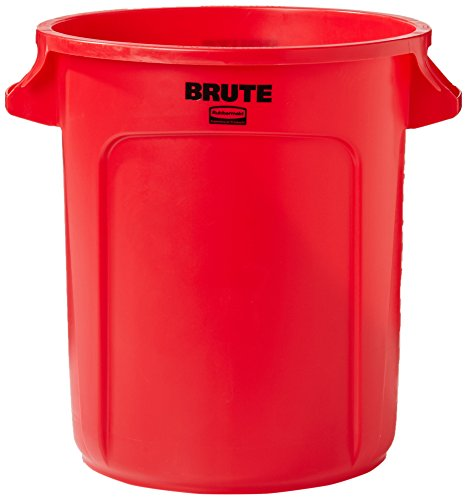 Rubbermaid Commercial FG261000RED Brute LLDPE 10-Gallon Trash Can without Lid, (10 Gallon Brute Round Container)