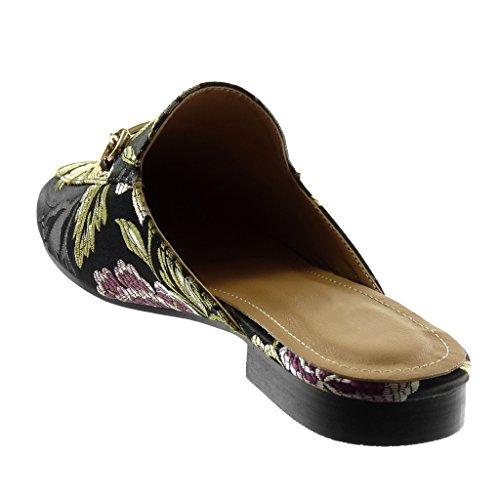 Nero Blocco Donna Open Fiori Ciabatte cm Ricamo orientali Moda D'Oro Tacco Scarpe Back Slip Angkorly On a 2 fHqRxR