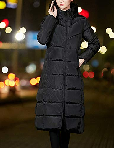 Cappotto With Calda Jacket Tuta Invernale Long Puffa Down Fit Donna Imbottito Womens Besbomig Slim Hooded Trapuntato Nero Sportiva xnwagBwHq